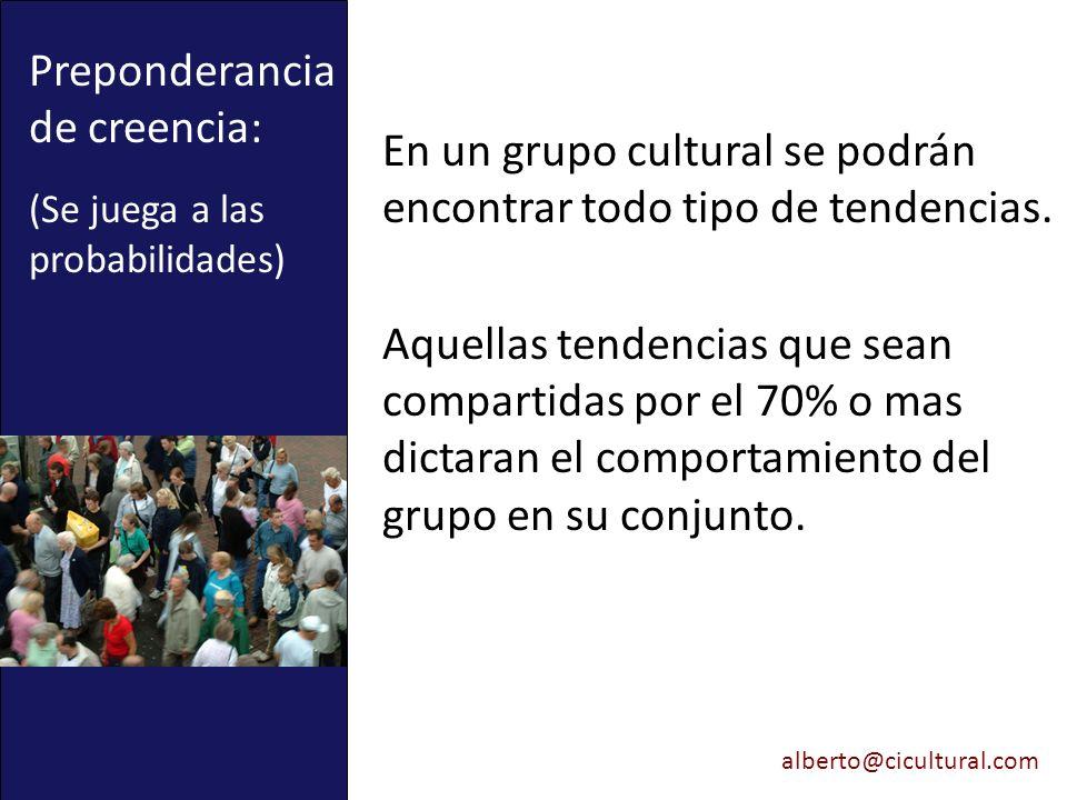alberto@cicultural.com Preponderancia de creencia: (Se juega a las probabilidades) En un grupo cultural se podrán encontrar todo tipo de tendencias. A