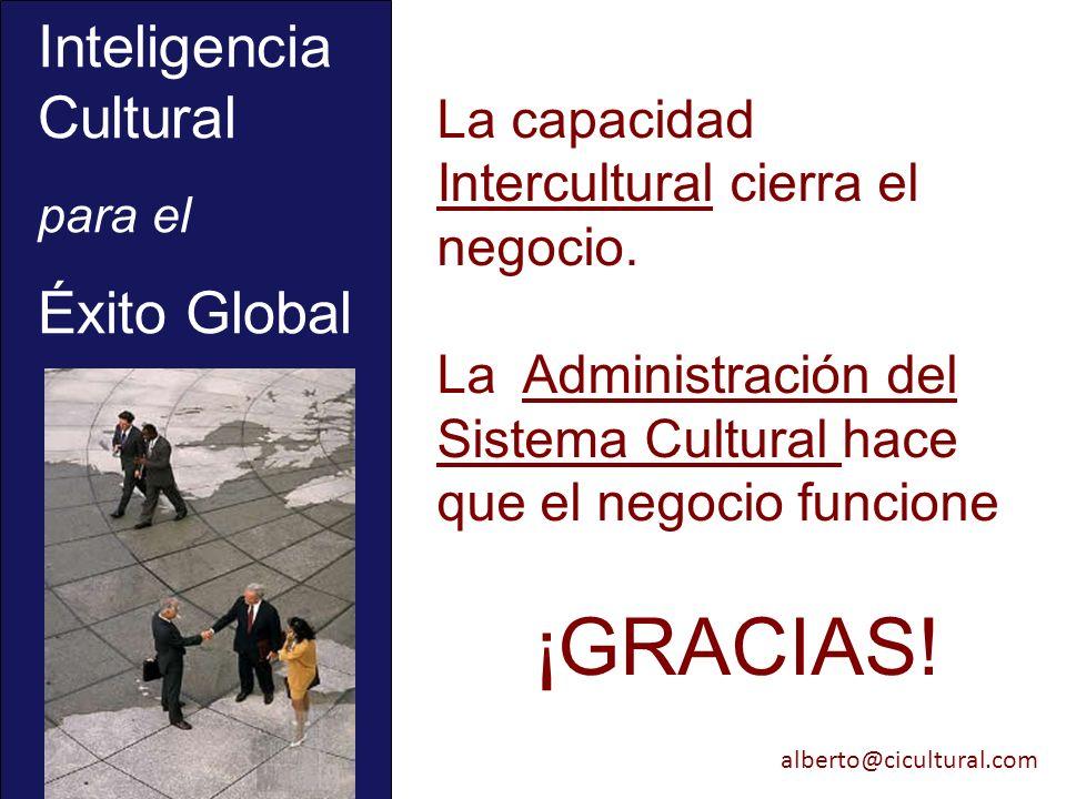 alberto@cicultural.com La capacidad Intercultural cierra el negocio. La Administración del Sistema Cultural hace que el negocio funcione ¡GRACIAS! Int