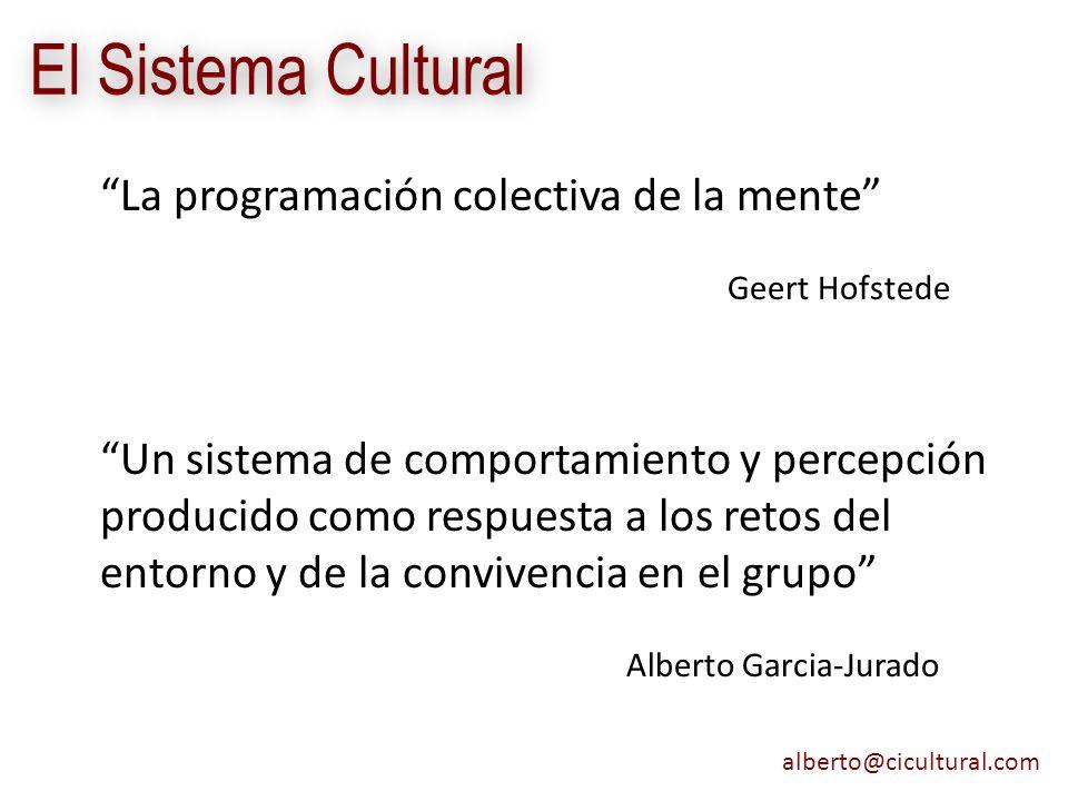 alberto@cicultural.com El Sistema Cultural La programación colectiva de la mente Geert Hofstede Un sistema de comportamiento y percepción producido co