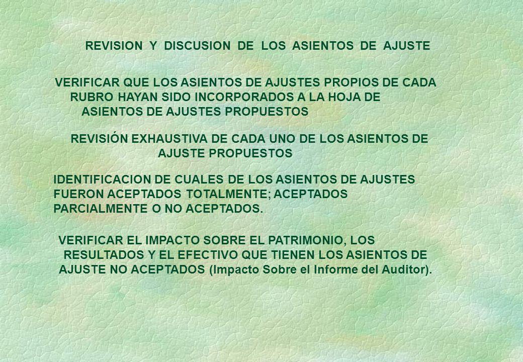 REVISION Y DISCUSION DE LOS ASIENTOS DE AJUSTE VERIFICAR QUE LOS ASIENTOS DE AJUSTES PROPIOS DE CADA RUBRO HAYAN SIDO INCORPORADOS A LA HOJA DE ASIENTOS DE AJUSTES PROPUESTOS REVISIÓN EXHAUSTIVA DE CADA UNO DE LOS ASIENTOS DE AJUSTE PROPUESTOS IDENTIFICACION DE CUALES DE LOS ASIENTOS DE AJUSTES FUERON ACEPTADOS TOTALMENTE; ACEPTADOS PARCIALMENTE O NO ACEPTADOS.