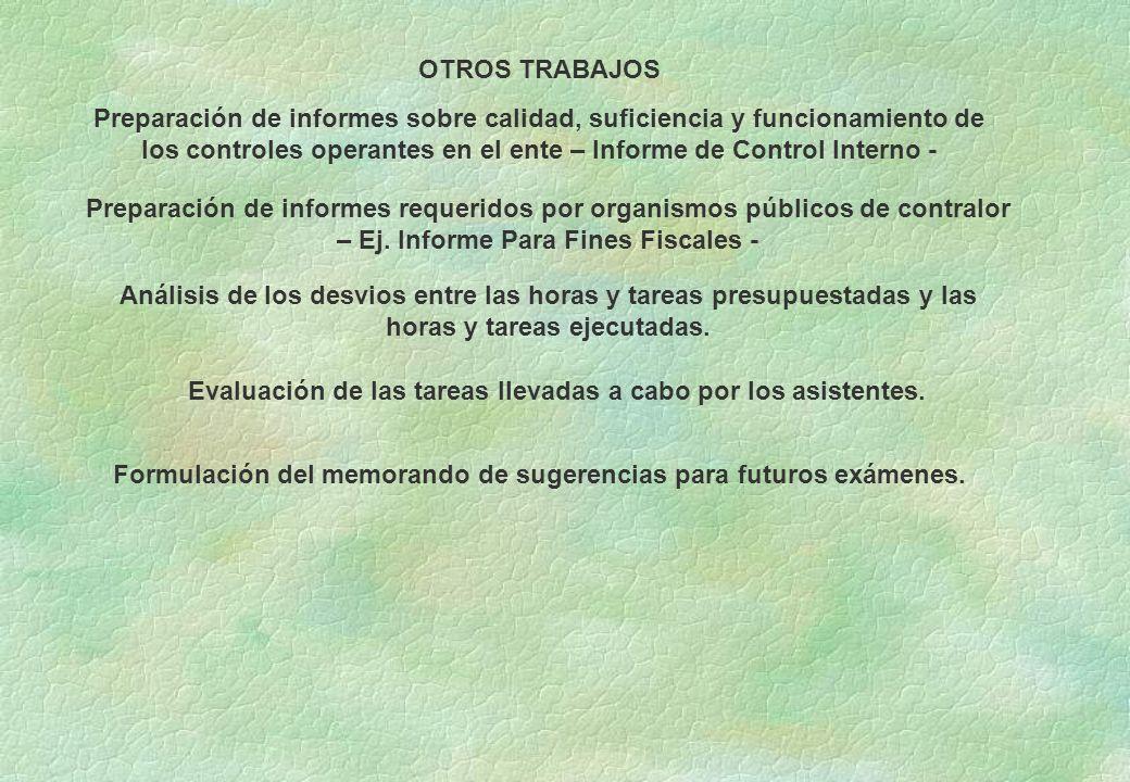 OTROS TRABAJOS Preparación de informes sobre calidad, suficiencia y funcionamiento de los controles operantes en el ente – Informe de Control Interno