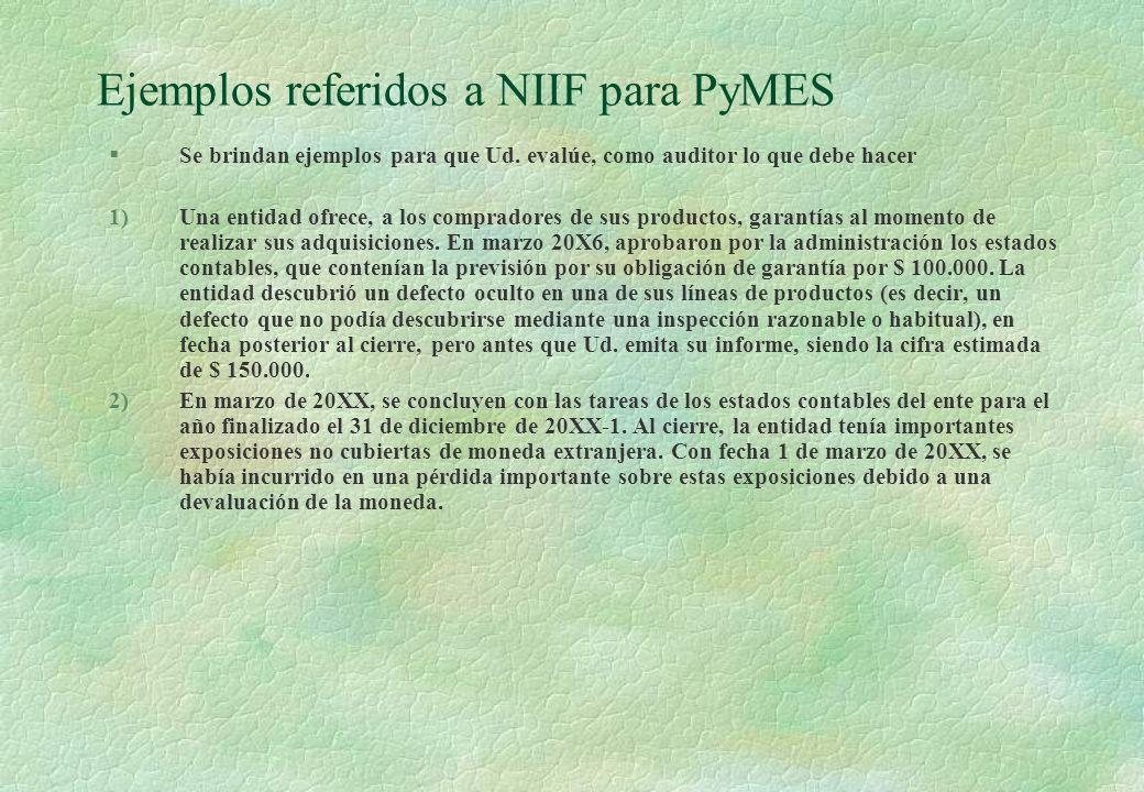 Ejemplos referidos a NIIF para PyMES §Se brindan ejemplos para que Ud. evalúe, como auditor lo que debe hacer 1)Una entidad ofrece, a los compradores