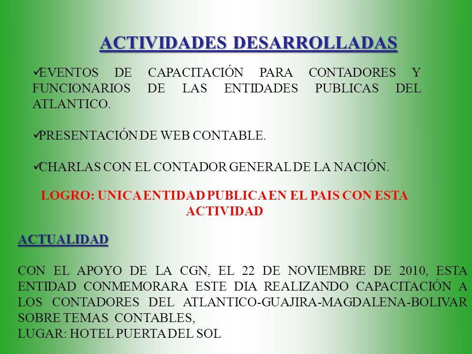 ACTIVIDADES DESARROLLADAS EVENTOS DE CAPACITACIÓN PARA CONTADORES Y FUNCIONARIOS DE LAS ENTIDADES PUBLICAS DEL ATLANTICO.