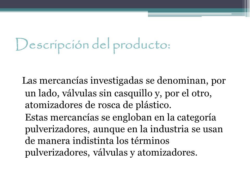 Descripción del producto: Las mercancías investigadas se denominan, por un lado, válvulas sin casquillo y, por el otro, atomizadores de rosca de plást