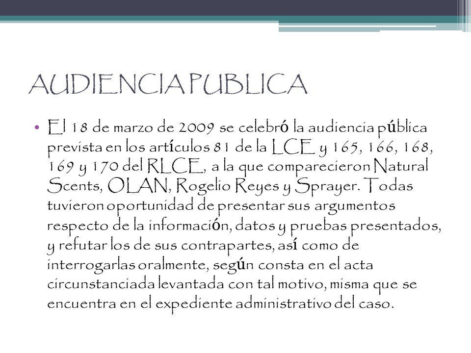AUDIENCIA PUBLICA El 18 de marzo de 2009 se celebr ó la audiencia p ú blica prevista en los art í culos 81 de la LCE y 165, 166, 168, 169 y 170 del RL