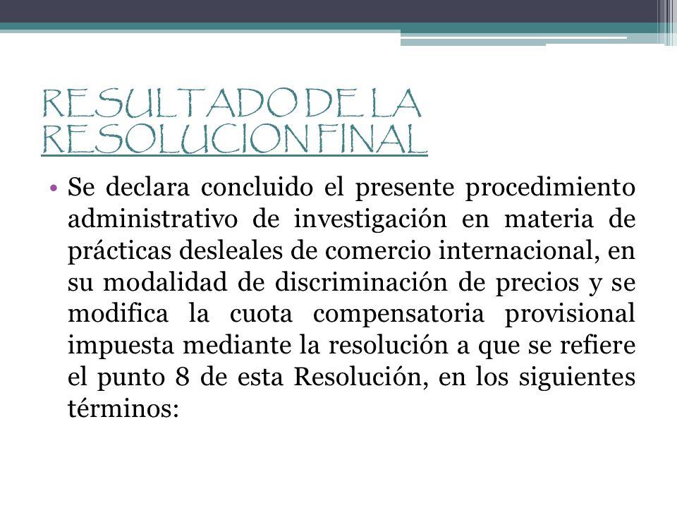 RESULTADO DE LA RESOLUCION FINAL Se declara concluido el presente procedimiento administrativo de investigación en materia de prácticas desleales de c