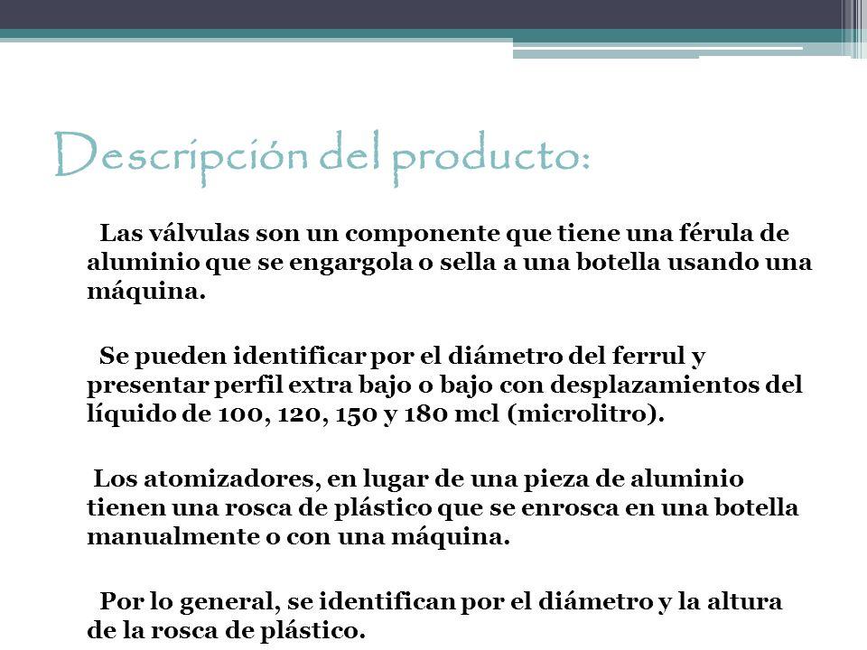 Descripción del producto: Las válvulas son un componente que tiene una férula de aluminio que se engargola o sella a una botella usando una máquina. S