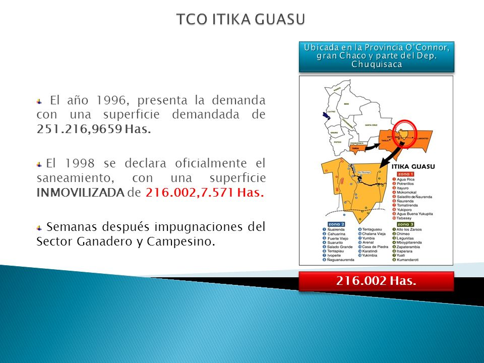 El año 1996, presenta la demanda con una superficie demandada de 251.216,9659 Has. El 1998 se declara oficialmente el saneamiento, con una superficie