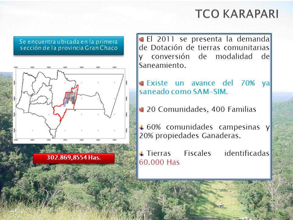 El 2011 se presenta la demanda de Dotación de tierras comunitarias y conversión de modalidad de Saneamiento. Existe un avance del 70% ya saneado como