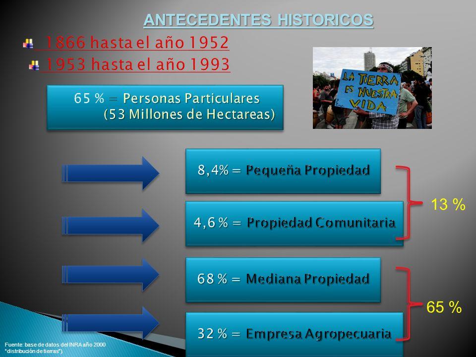 13 % 65 % ANTECEDENTES HISTORICOS Fuente: base de datos del INRA año 2000 distribución de tierras).