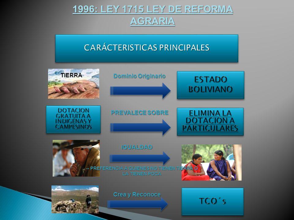 1996: LEY 1715 LEY DE REFORMA AGRARIA Dominio Originario TIERRA PREVALECE SOBRE IGUALDAD -- PREFERENCIA A QUIENES NO TIENEN TIERRA O LA TIENEN POCA Crea y Reconoce