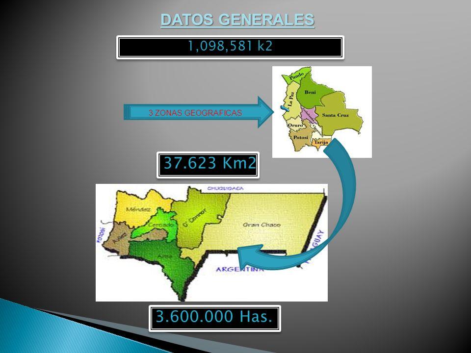 DATOS GENERALES 37.623 Km2 1,098,581 k2 3.600.000 Has. 3 ZONAS GEOGRAFICAS