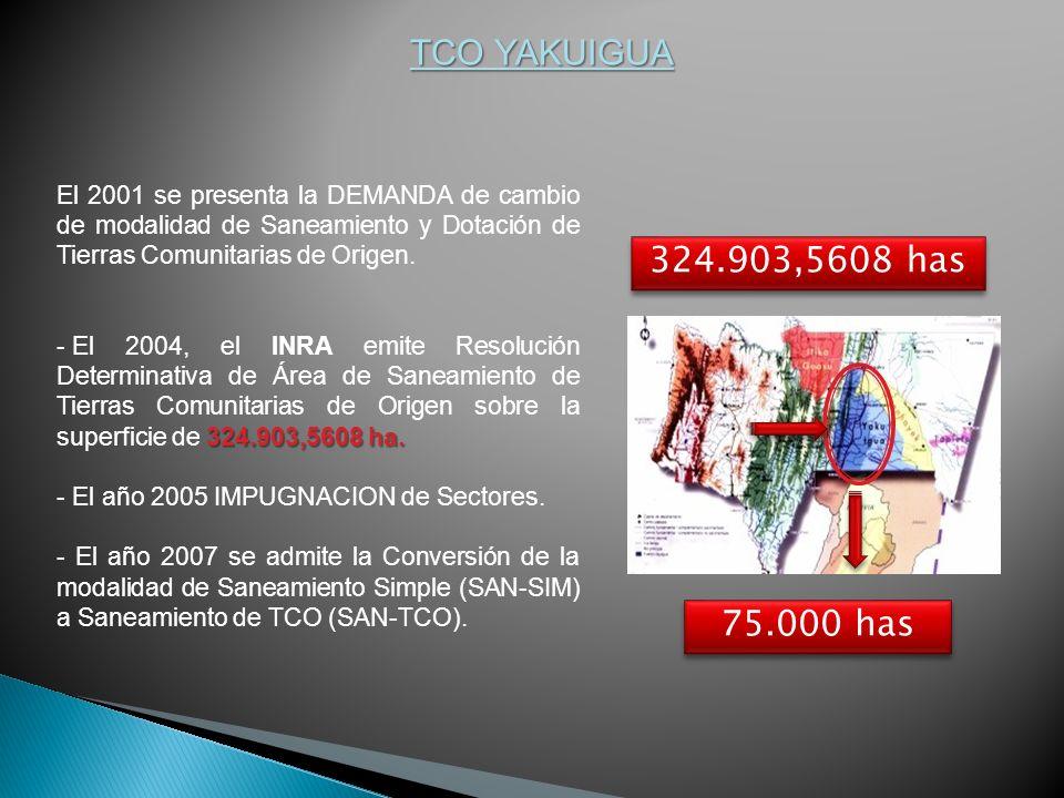 TCO YAKUIGUA El 2001 se presenta la DEMANDA de cambio de modalidad de Saneamiento y Dotación de Tierras Comunitarias de Origen. 324.903,5608 ha. - El