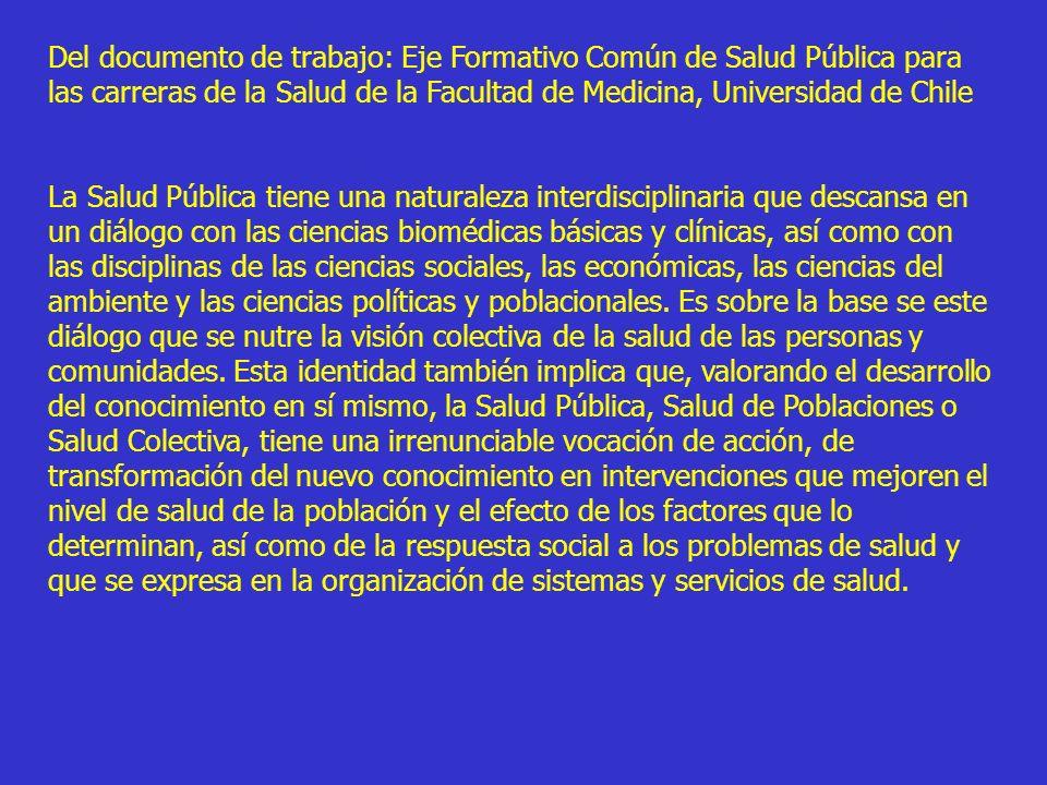 Del documento de trabajo: Eje Formativo Común de Salud Pública para las carreras de la Salud de la Facultad de Medicina, Universidad de Chile La Salud
