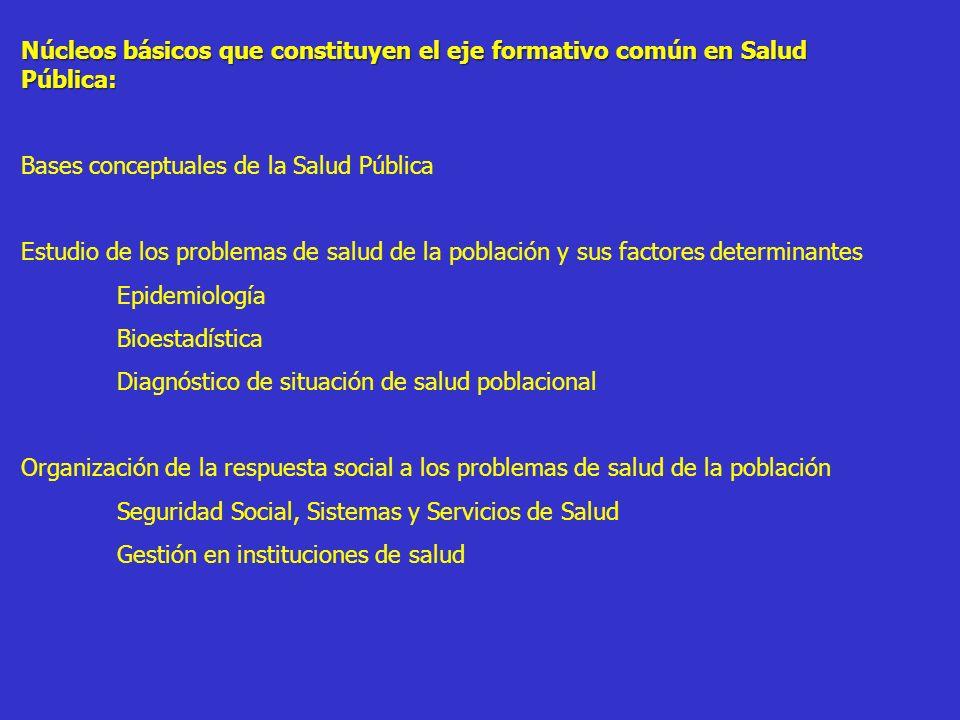 Núcleos básicos que constituyen el eje formativo común en Salud Pública: Bases conceptuales de la Salud Pública Estudio de los problemas de salud de l