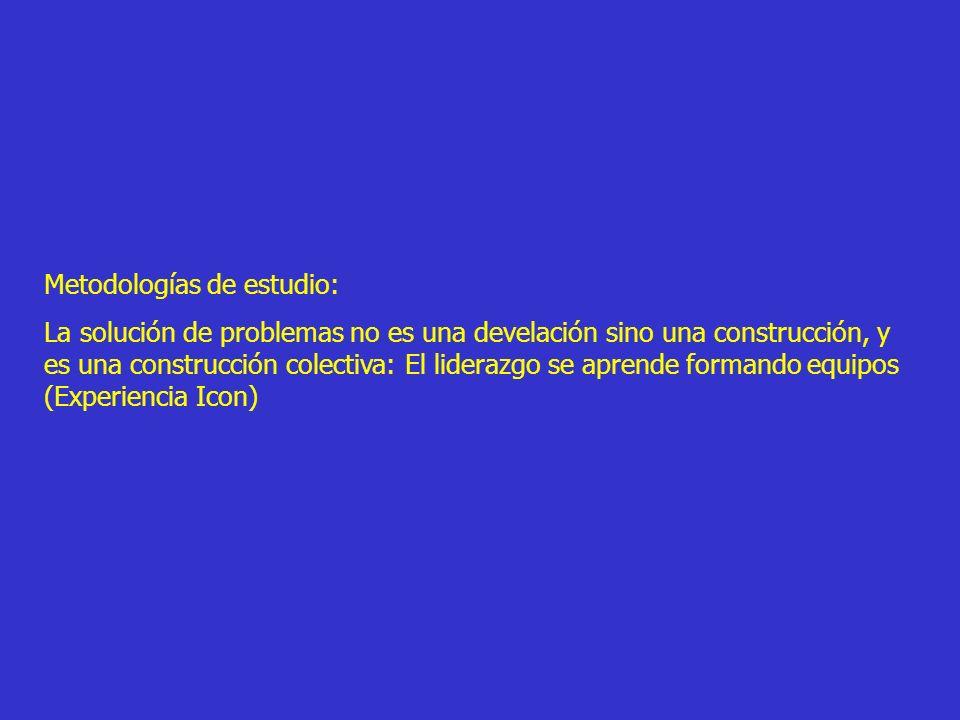 Metodologías de estudio: La solución de problemas no es una develación sino una construcción, y es una construcción colectiva: El liderazgo se aprende