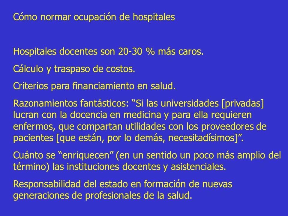 Cómo normar ocupación de hospitales Hospitales docentes son 20-30 % más caros. Cálculo y traspaso de costos. Criterios para financiamiento en salud. R