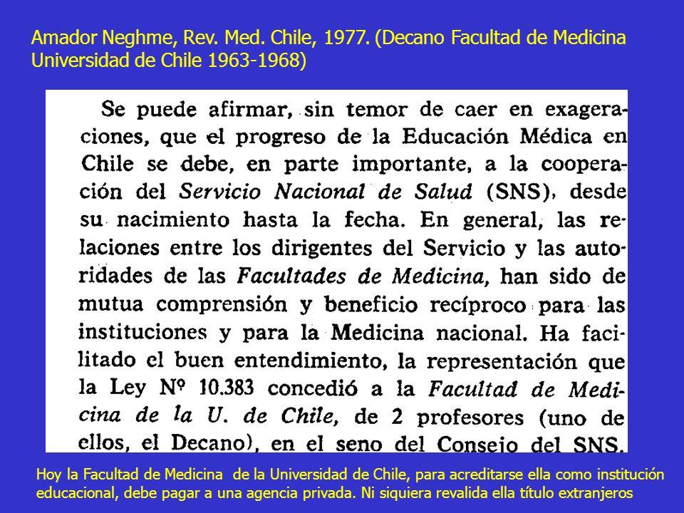 Amador Neghme, Rev. Med. Chile, 1977. (Decano Facultad de Medicina Universidad de Chile 1963-1968) Hoy la Facultad de Medicina de la Universidad de Ch