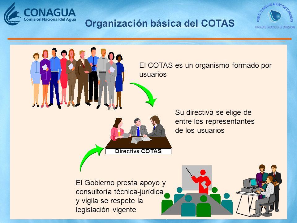 Organización básica del COTAS El COTAS es un organismo formado por usuarios Directiva COTAS Su directiva se elige de entre los representantes de los usuarios El Gobierno presta apoyo y consultoría técnica-jurídica y vigila se respete la legislación vigente