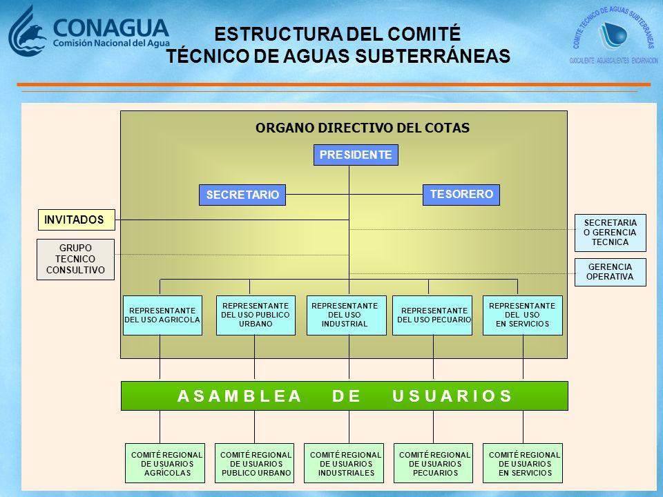 ORGANO DIRECTIVO DEL COTAS PRESIDENTE SECRETARIO TESORERO REPRESENTANTE DEL USO EN SERVICIOS REPRESENTANTE DEL USO PECUARIO REPRESENTANTE DEL USO INDUSTRIAL REPRESENTANTE DEL USO PUBLICO URBANO REPRESENTANTE DEL USO AGRICOLA INVITADOS GRUPO TECNICO CONSULTIVO SECRETARIA O GERENCIA TECNICA COMITÉ REGIONAL DE USUARIOS AGRÍCOLAS COMITÉ REGIONAL DE USUARIOS PUBLICO URBANO COMITÉ REGIONAL DE USUARIOS INDUSTRIALES COMITÉ REGIONAL DE USUARIOS PECUARIOS COMITÉ REGIONAL DE USUARIOS EN SERVICIOS ESTRUCTURA DEL COMITÉ TÉCNICO DE AGUAS SUBTERRÁNEAS A S A M B L E A D E U S U A R I O S GERENCIA OPERATIVA
