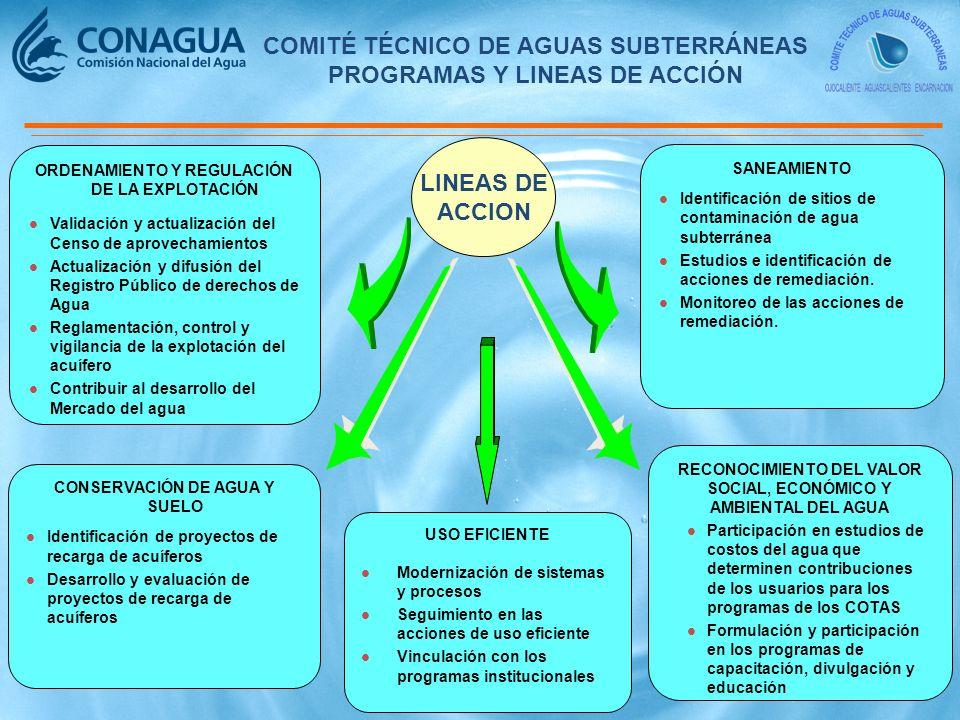LINEAS DE ACCION COMITÉ TÉCNICO DE AGUAS SUBTERRÁNEAS PROGRAMAS Y LINEAS DE ACCIÓN ORDENAMIENTO Y REGULACIÓN DE LA EXPLOTACIÓN l Validación y actualización del Censo de aprovechamientos l Actualización y difusión del Registro Público de derechos de Agua l Reglamentación, control y vigilancia de la explotación del acuífero l Contribuir al desarrollo del Mercado del agua SANEAMIENTO l Identificación de sitios de contaminación de agua subterránea l Estudios e identificación de acciones de remediación.