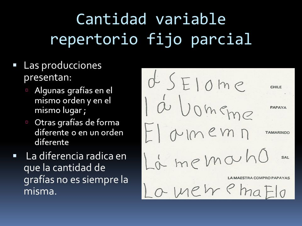 Cantidad variable repertorio fijo parcial Las producciones presentan: Algunas grafías en el mismo orden y en el mismo lugar ; Otras grafías de forma diferente o en un orden diferente La diferencia radica en que la cantidad de grafías no es siempre la misma.