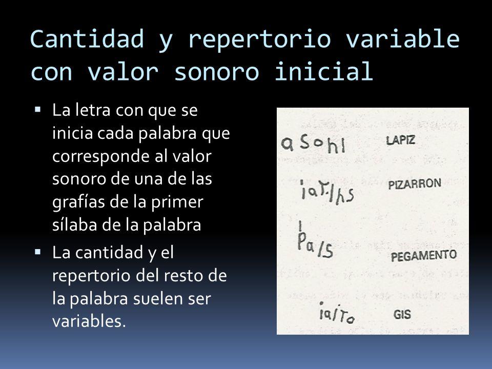 Cantidad y repertorio variable con valor sonoro inicial La letra con que se inicia cada palabra que corresponde al valor sonoro de una de las grafías de la primer sílaba de la palabra La cantidad y el repertorio del resto de la palabra suelen ser variables.