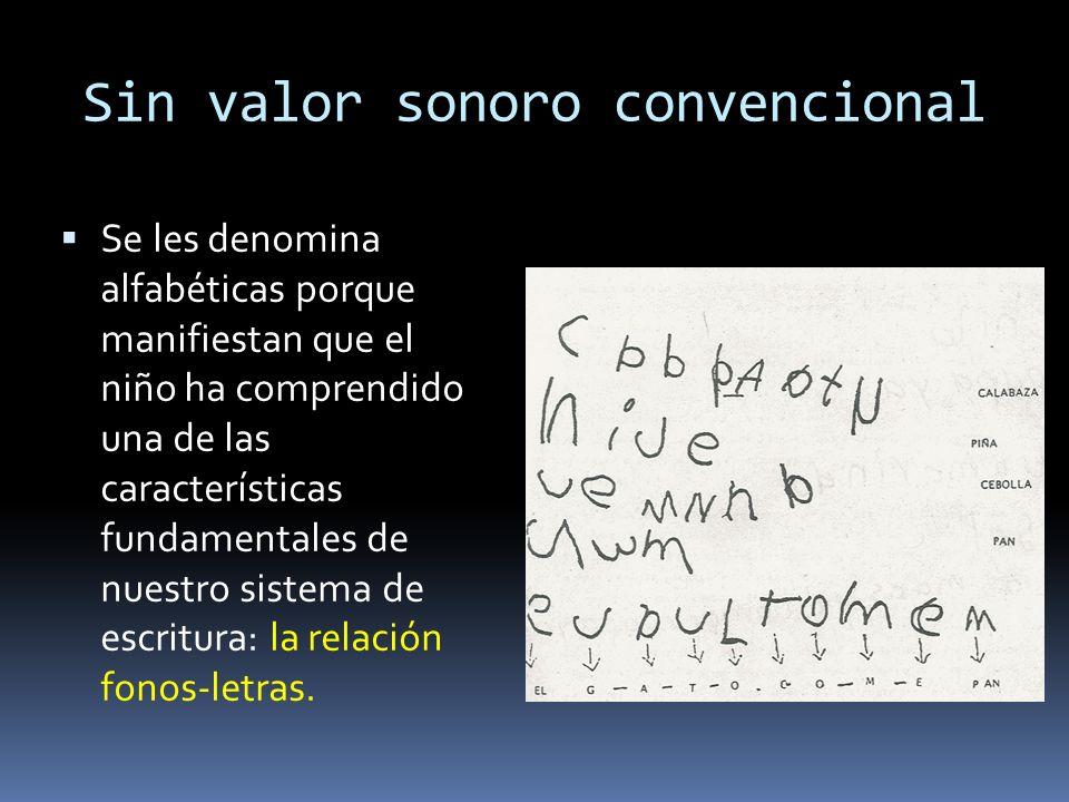 Sin valor sonoro convencional Se les denomina alfabéticas porque manifiestan que el niño ha comprendido una de las características fundamentales de nuestro sistema de escritura: la relación fonos-letras.