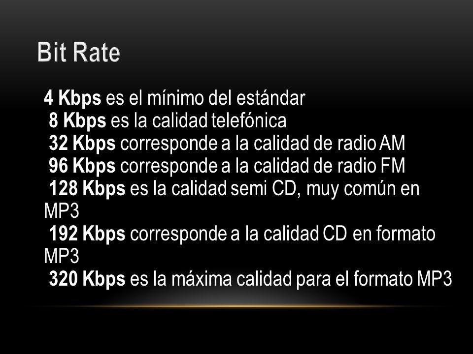 4 Kbps es el mínimo del estándar 8 Kbps es la calidad telefónica 32 Kbps corresponde a la calidad de radio AM 96 Kbps corresponde a la calidad de radi