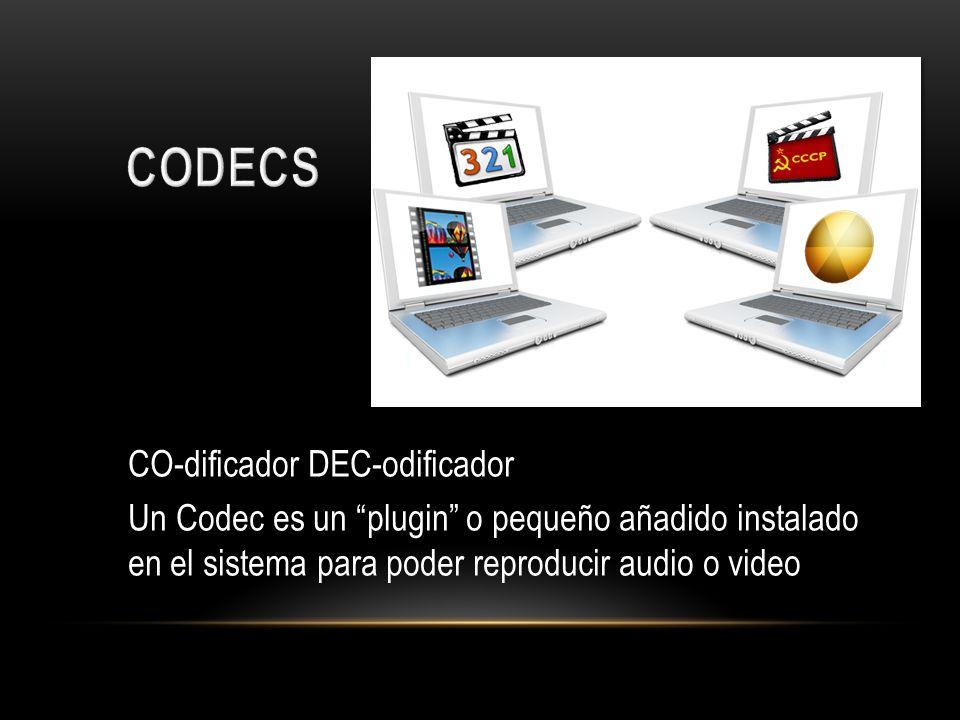 CO-dificador DEC-odificador Un Codec es un plugin o pequeño añadido instalado en el sistema para poder reproducir audio o video