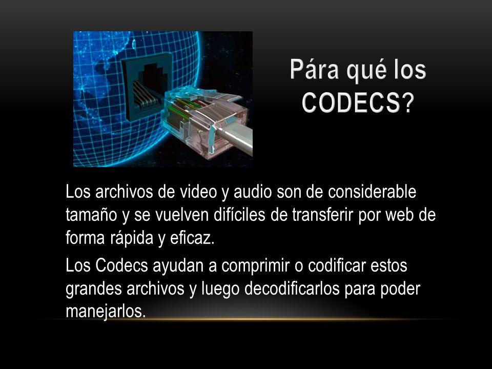 Los archivos de video y audio son de considerable tamaño y se vuelven difíciles de transferir por web de forma rápida y eficaz. Los Codecs ayudan a co