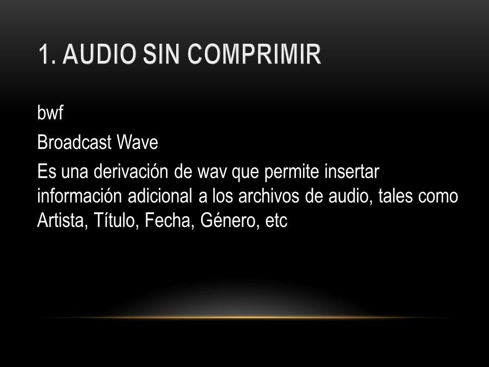 bwf Broadcast Wave Es una derivación de wav que permite insertar información adicional a los archivos de audio, tales como Artista, Título, Fecha, Gén