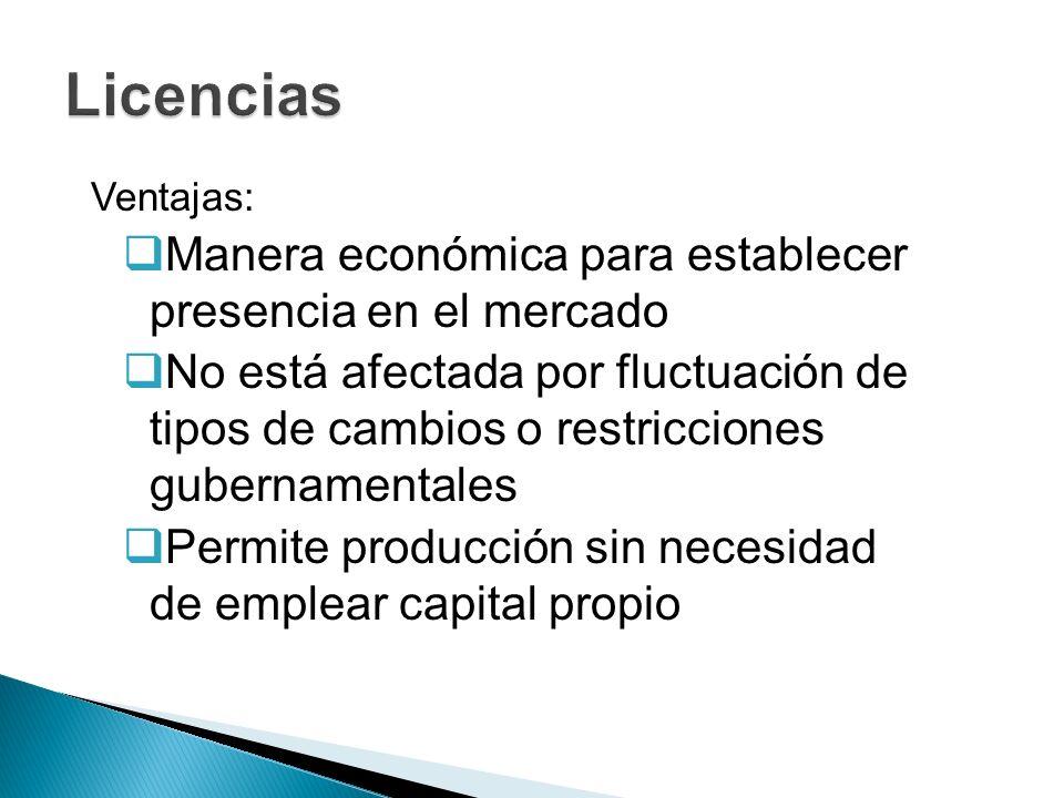Ventajas: Manera económica para establecer presencia en el mercado No está afectada por fluctuación de tipos de cambios o restricciones gubernamentale