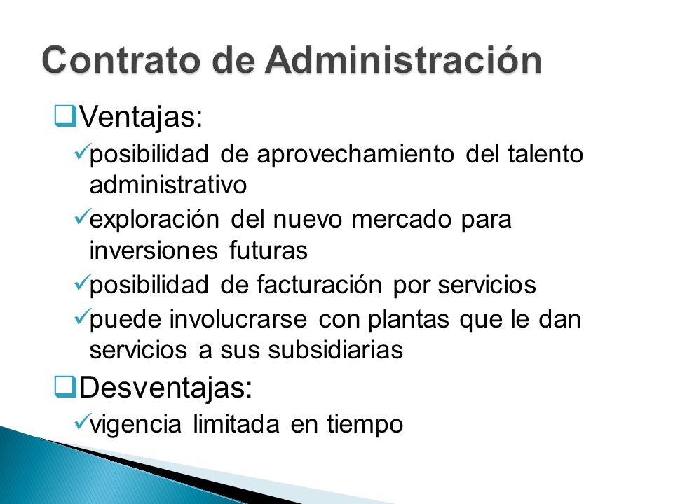 Ventajas: posibilidad de aprovechamiento del talento administrativo exploración del nuevo mercado para inversiones futuras posibilidad de facturación
