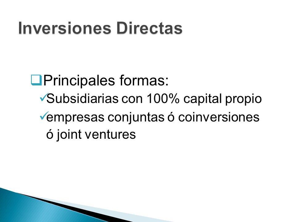 Principales formas: Subsidiarias con 100% capital propio empresas conjuntas ó coinversiones ó joint ventures