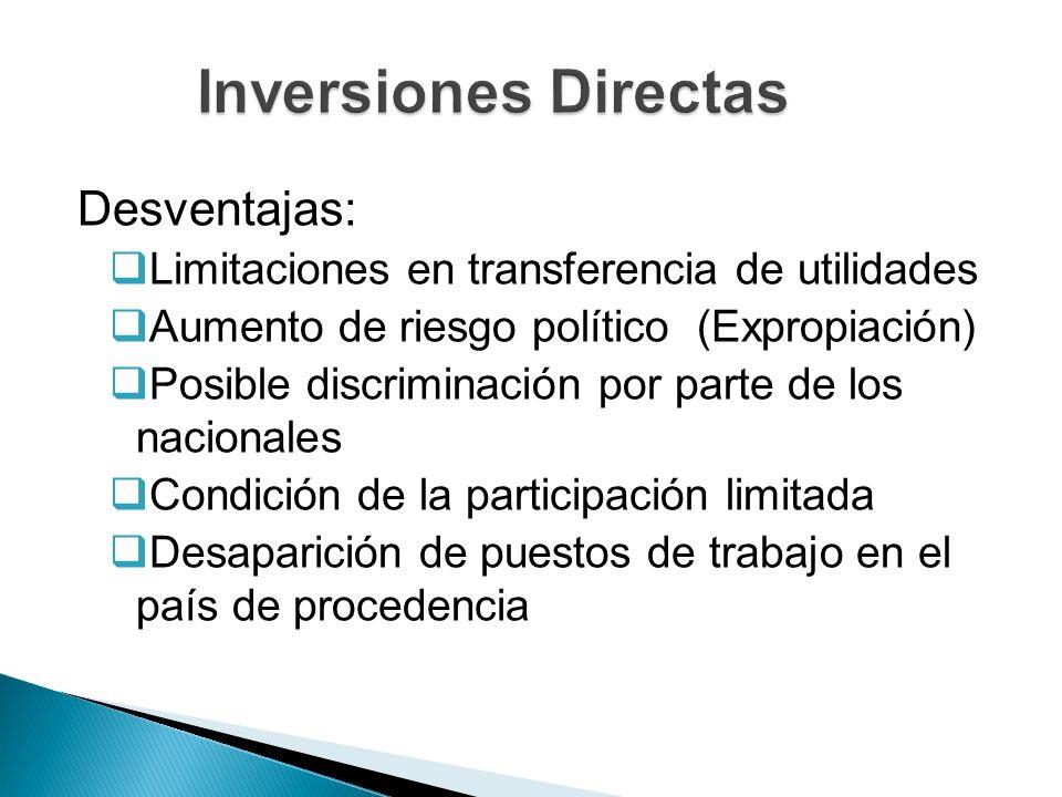 Desventajas: Limitaciones en transferencia de utilidades Aumento de riesgo político (Expropiación) Posible discriminación por parte de los nacionales