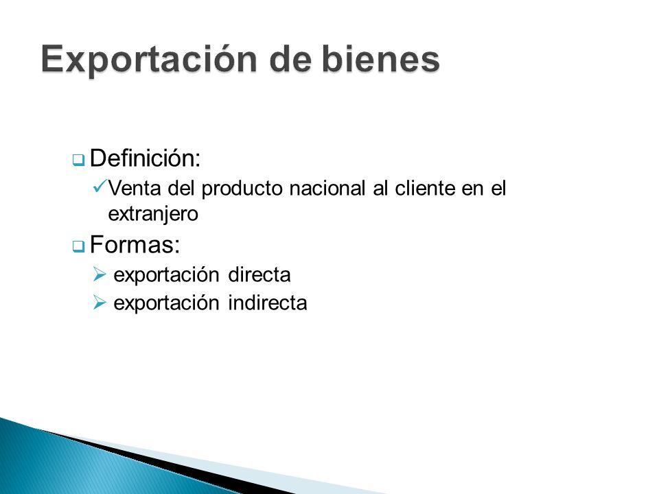Definición: Venta del producto nacional al cliente en el extranjero Formas: exportación directa exportación indirecta