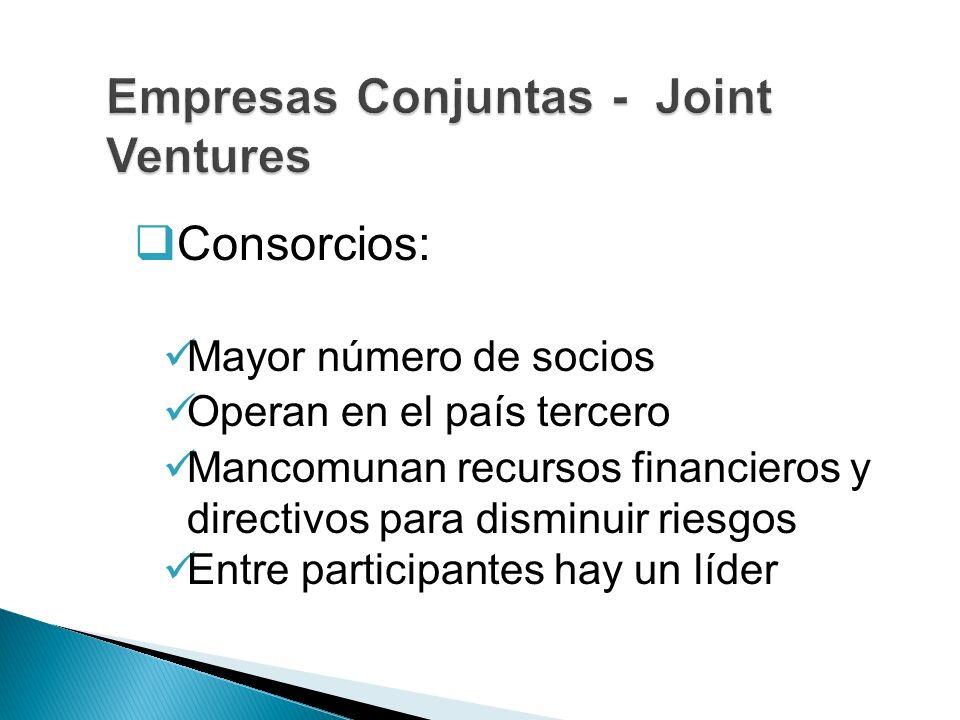 Consorcios: Mayor número de socios Operan en el país tercero Mancomunan recursos financieros y directivos para disminuir riesgos Entre participantes h