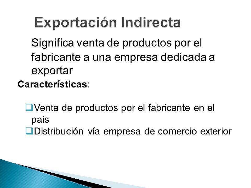 Significa venta de productos por el fabricante a una empresa dedicada a exportar Características: Venta de productos por el fabricante en el país Dist