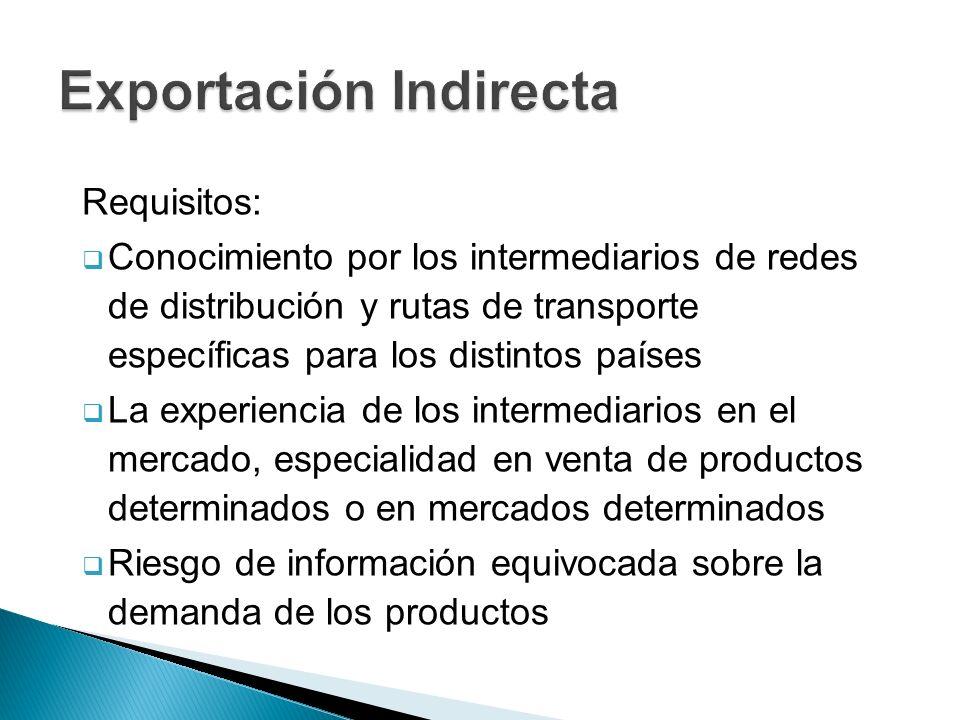 Requisitos: Conocimiento por los intermediarios de redes de distribución y rutas de transporte específicas para los distintos países La experiencia de