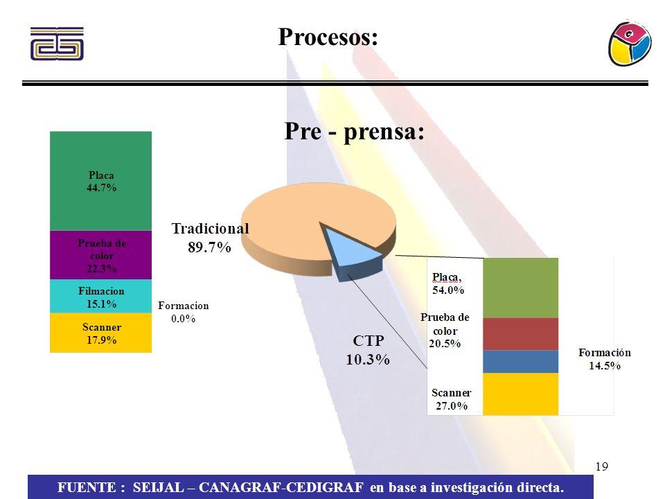 19 Procesos: FUENTE : SEIJAL – CANAGRAF-CEDIGRAF en base a investigación directa. Pre - prensa: