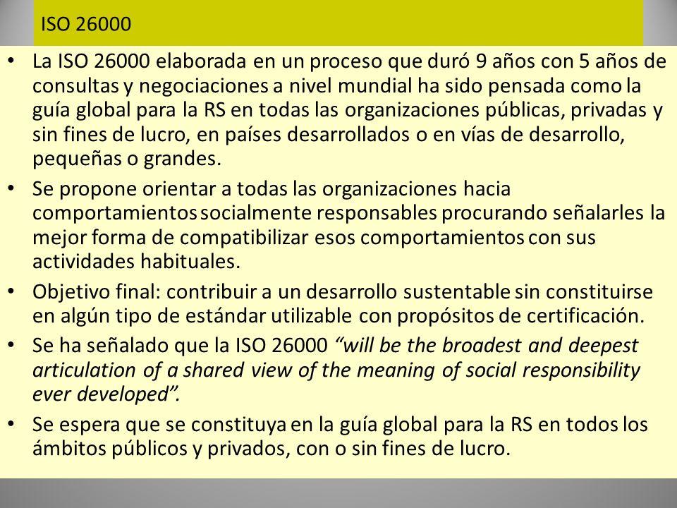 ISO 26000 Punto de vista ampliado de la RSE hacia los stakeholders (80s) Stakeholders : todos aquellos involucrados o con intereses en el negocio (accionistas, trabajadores, proveedores, clientes, comunidades).
