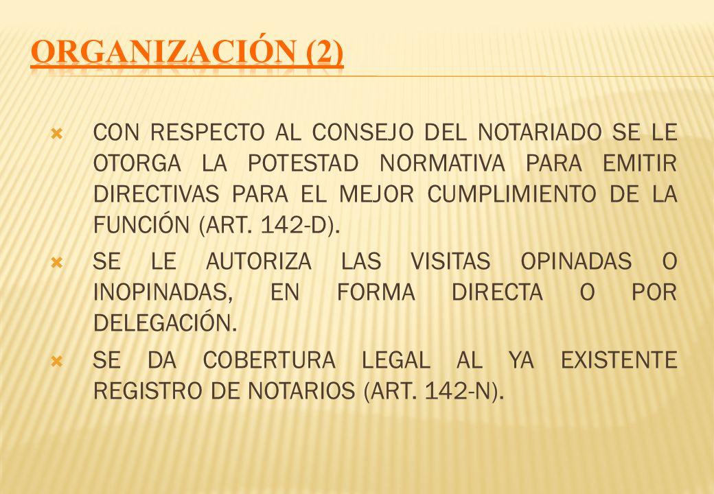 LA ORGANIZACIÓN DEL NOTARIADO CORRESPONDE A LOS COLEGIOS DE NOTARIOS QUE EJERCEN FUNCIÓN DE DIRECCIÓN, INSPECCIÓN Y VIGILANCIA DE SUS MIEMBROS (ART. 1