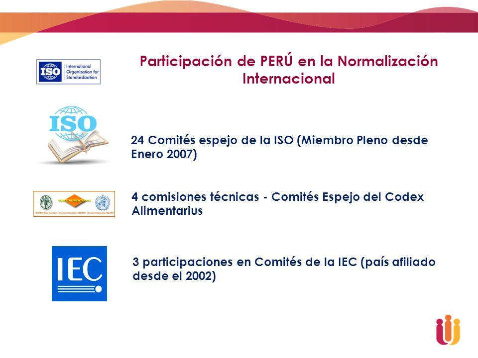 Participación de PERÚ en la Normalización Internacional 24 Comités espejo de la ISO (Miembro Pleno desde Enero 2007) 4 comisiones técnicas - Comités E