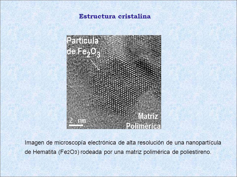 Imagen de microscopía electrónica de alta resolución de una nanopartícula de Hematita (Fe 2 O 3 ) rodeada por una matriz polimérica de poliestireno. E