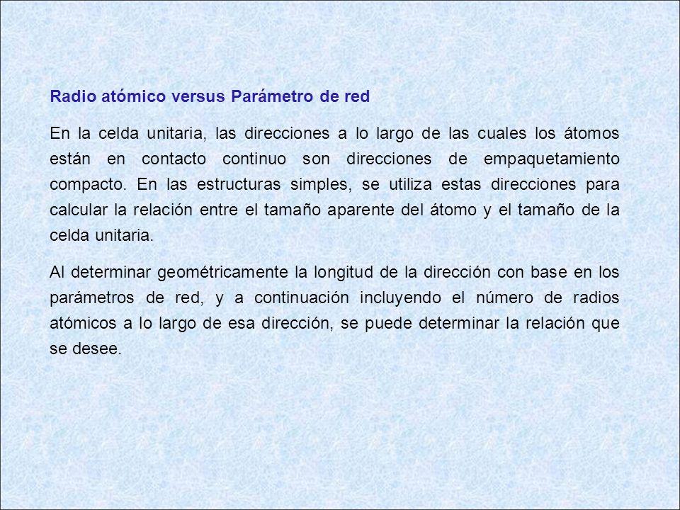 Radio atómico versus Parámetro de red En la celda unitaria, las direcciones a lo largo de las cuales los átomos están en contacto continuo son direcci
