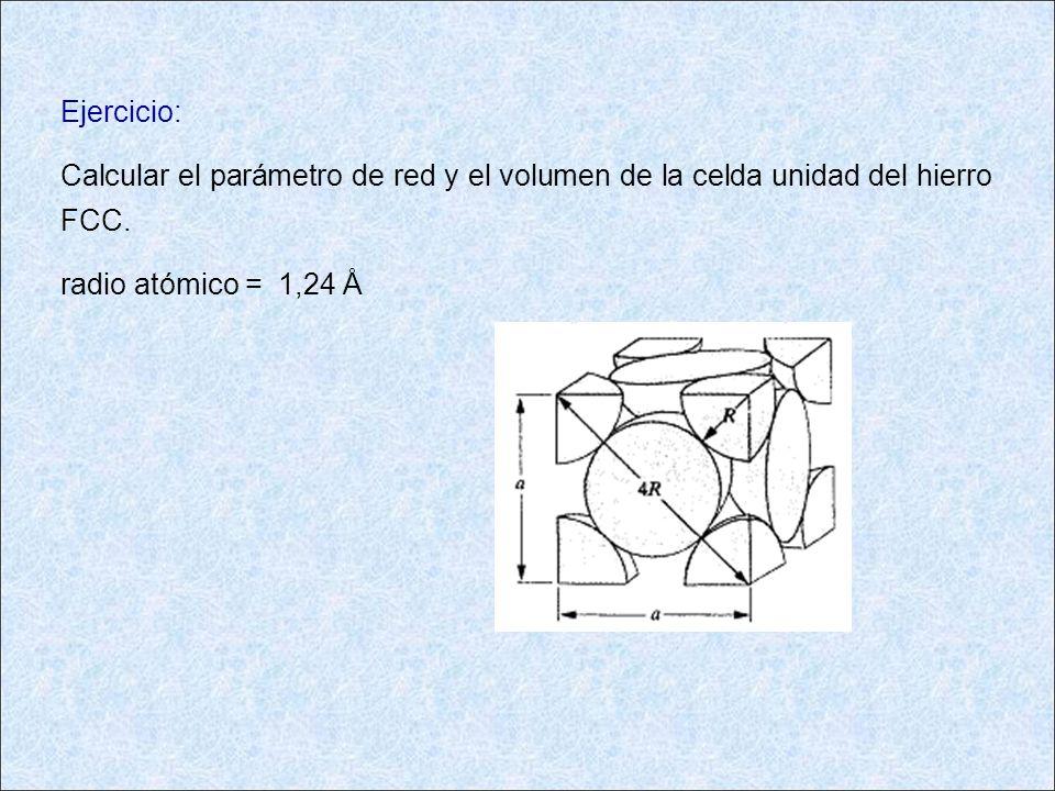 Ejercicio: Calcular el parámetro de red y el volumen de la celda unidad del hierro FCC. radio atómico = 1,24 Å