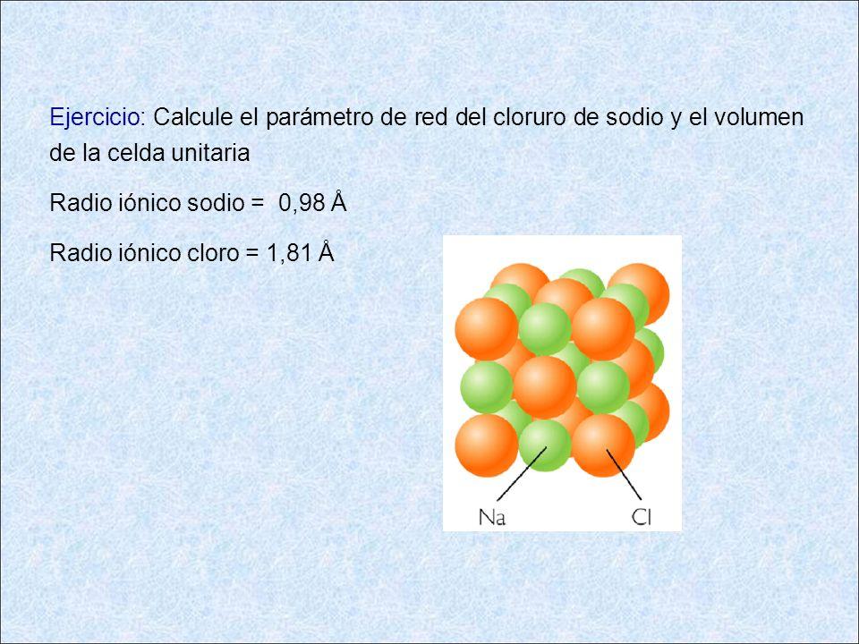 Ejercicio: Calcule el parámetro de red del cloruro de sodio y el volumen de la celda unitaria Radio iónico sodio = 0,98 Å Radio iónico cloro = 1,81 Å