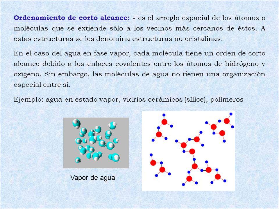 Ordenamiento de corto alcance: - es el arreglo espacial de los átomos o moléculas que se extiende sólo a los vecinos más cercanos de éstos. A estas es