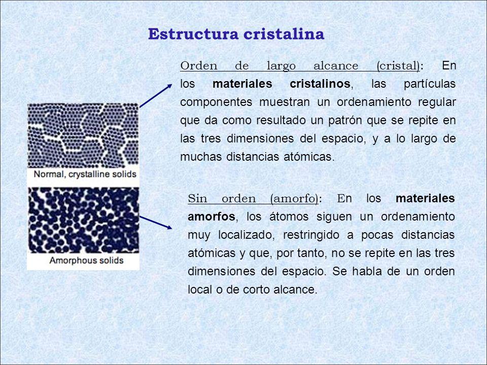 Estructura cristalina Orden de largo alcance (cristal): En los materiales cristalinos, las partículas componentes muestran un ordenamiento regular que